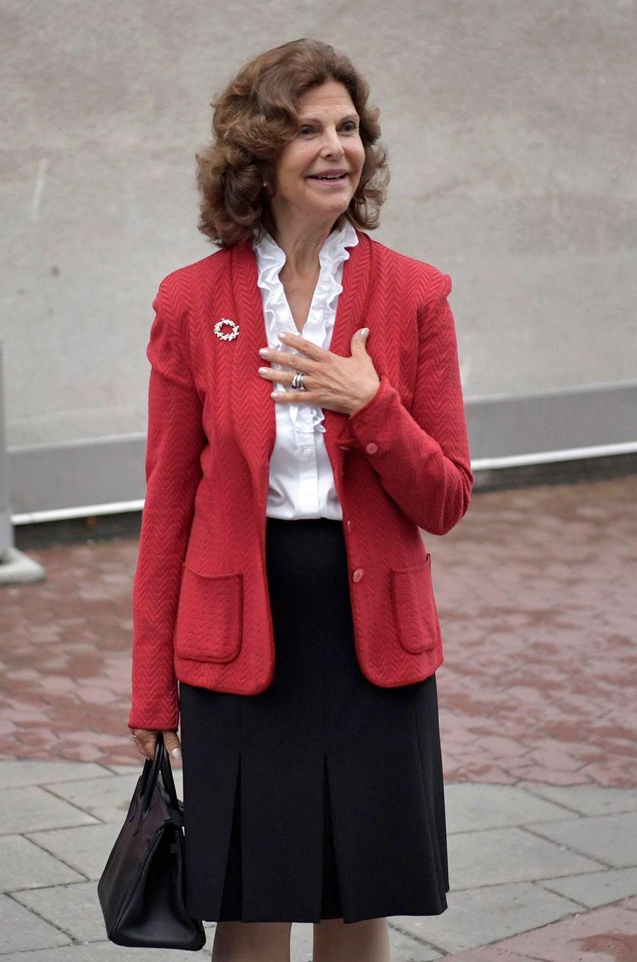 La reine Silvia de Suède à Stockholm, le 31 août 2017