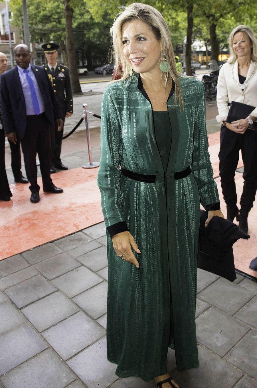 La reine Maxima des Pays-Bas dans une robe Zeus + Dione à Amsterdam, le 11 septembre 2017