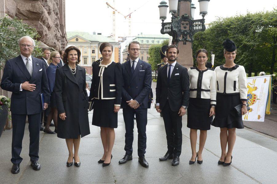 La famille royale de Suède à Stockholm, le 15 septembre 2015