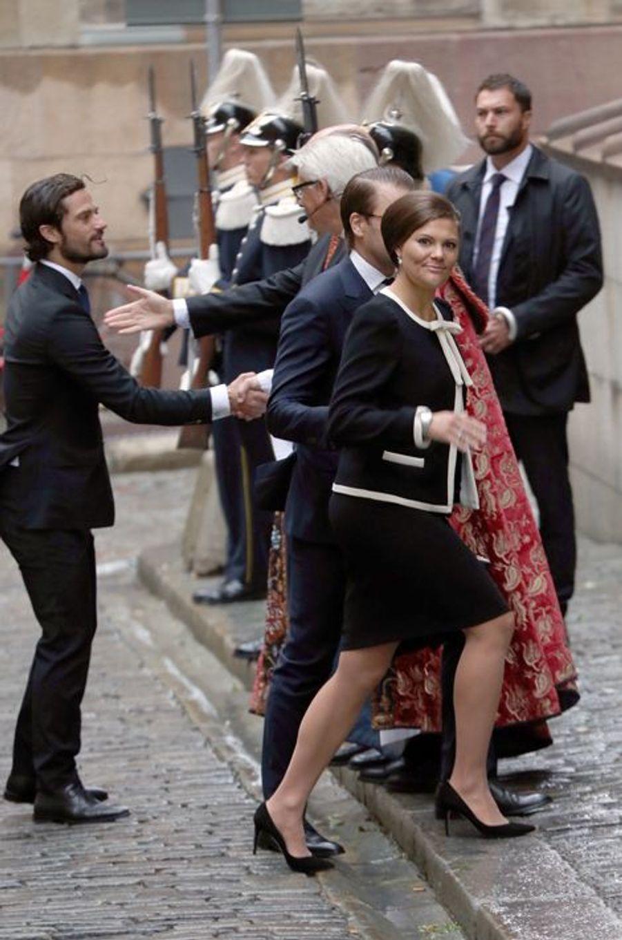 La princesse Victoria de Suède et le princes Daniel et Carl Philip à Stockholm, le 15 septembre 2015