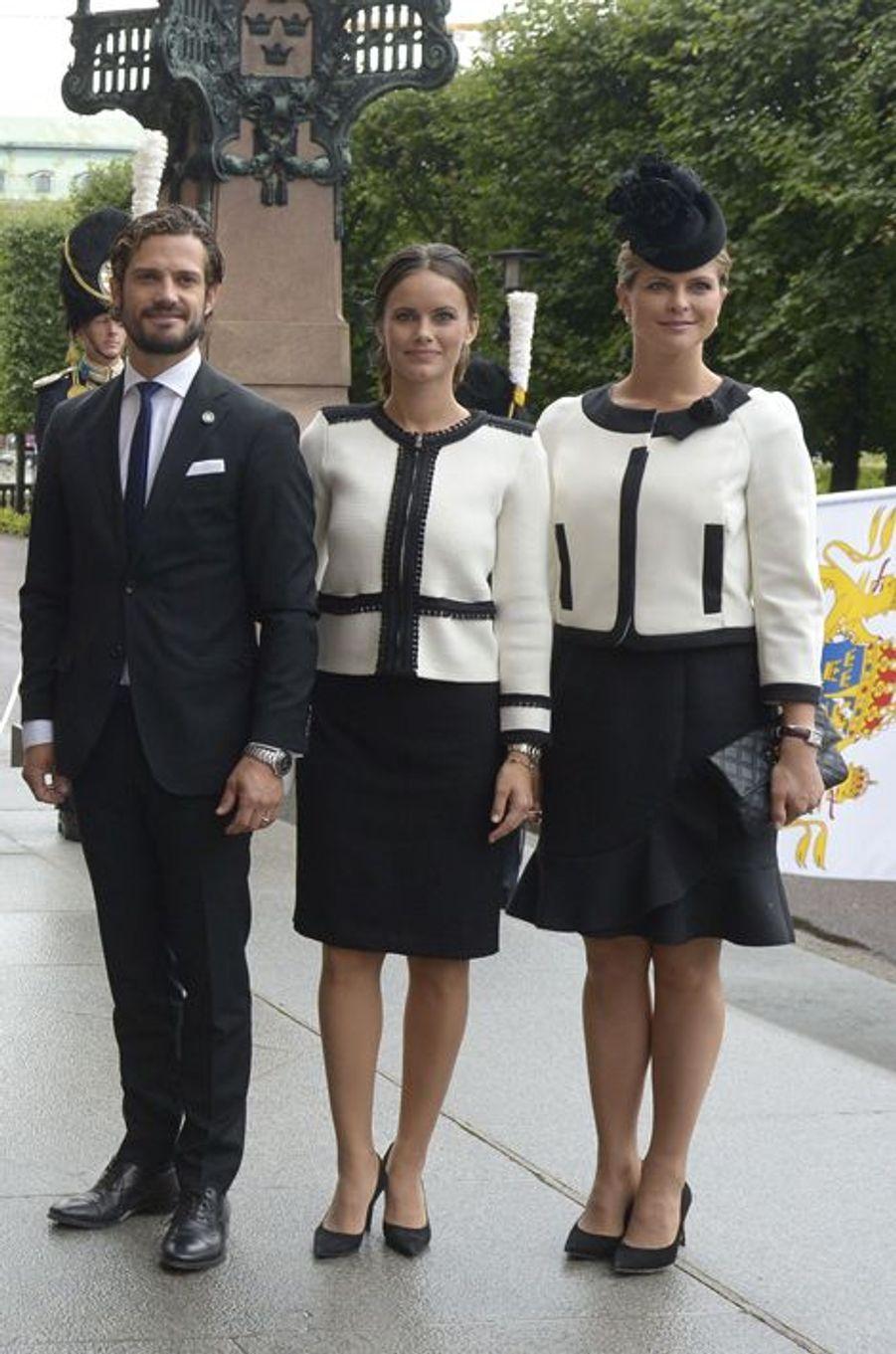 Le prince Carl Philip et les princesses Sofia et Madeleine de Suède à Stockholm, le 15 septembre 2015