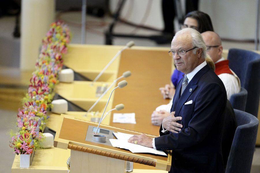 Le roi Carl XVI Gustaf de Suède à Stockholm, le 15 septembre 2015