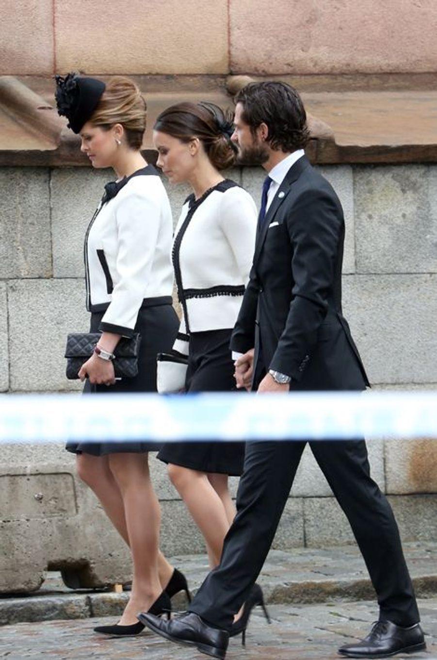 Les princesses Madeleine et Sofia et le prince Carl Philip de Suède à Stockholm, le 15 septembre 2015