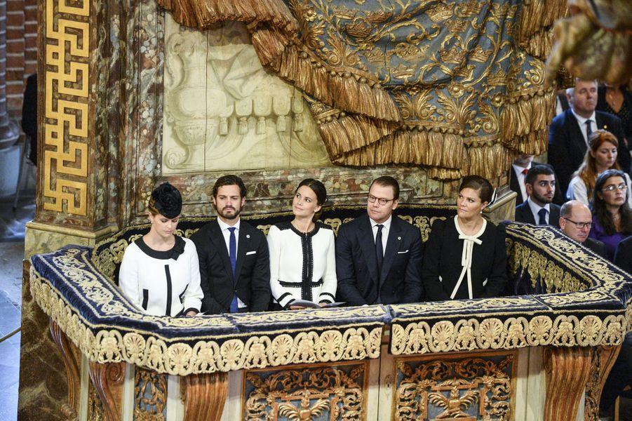 Les princesses Madeleine, Sofia et Victoria de Suède et les princes Carl Philip et Daniel à Stockholm, le 15 septembre 2015