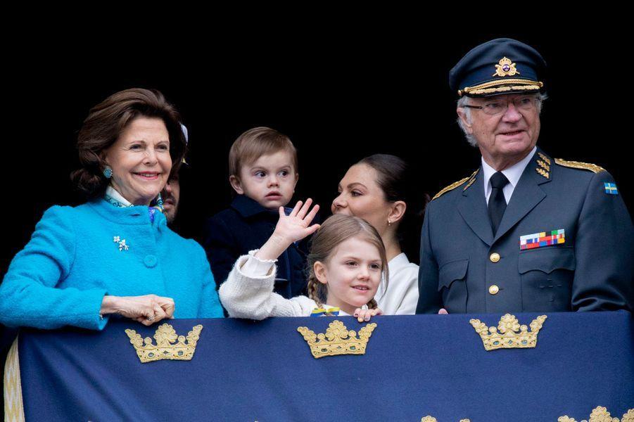 La famille royale de Suède à Stockholm, le 30 avril 2018