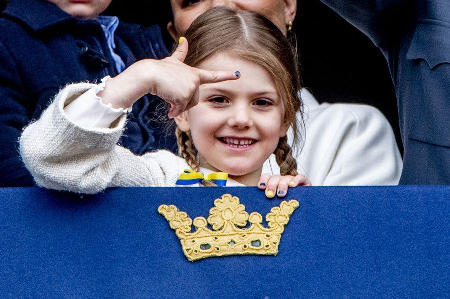 La princesse Estelle de Suède à Stockholm, le 30 avril 2018