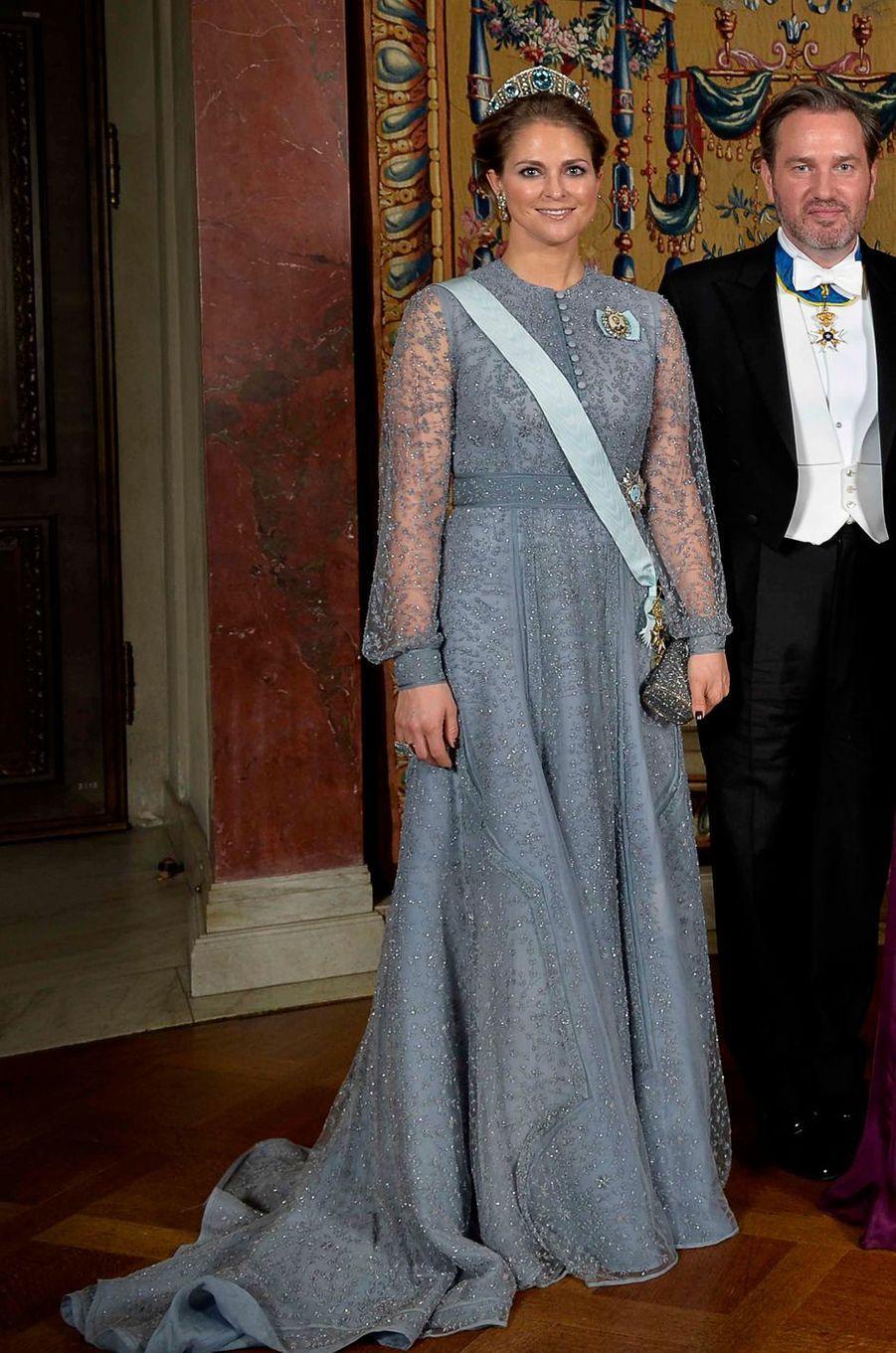 La princesse Madeleine de Suède dans une robe Fadi El Khoury le 10 décembre 2015