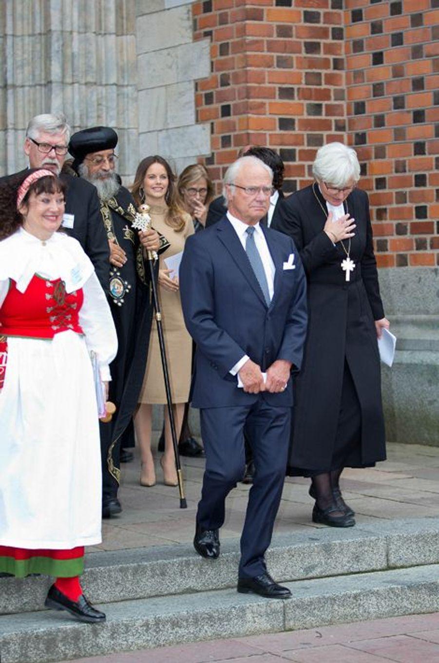 La princesse Sofia et le roi Carl XVI Gustaf de Suède à Uppsala, le 22 septembre 2015