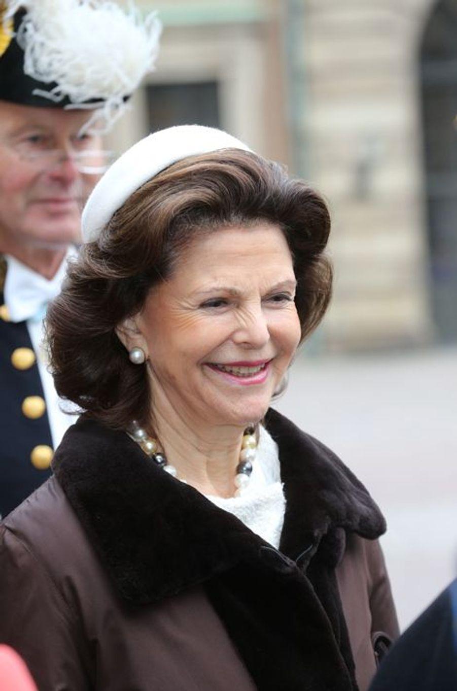 La reine Silvia de Suède à Stockholm, le 4 novembre 2015