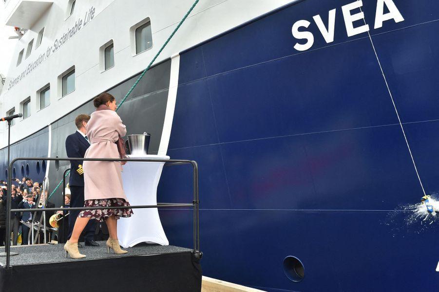 La princesse Victoria de Suède baptise le R/V Svea à Lysekil, le 25 septembre 2019