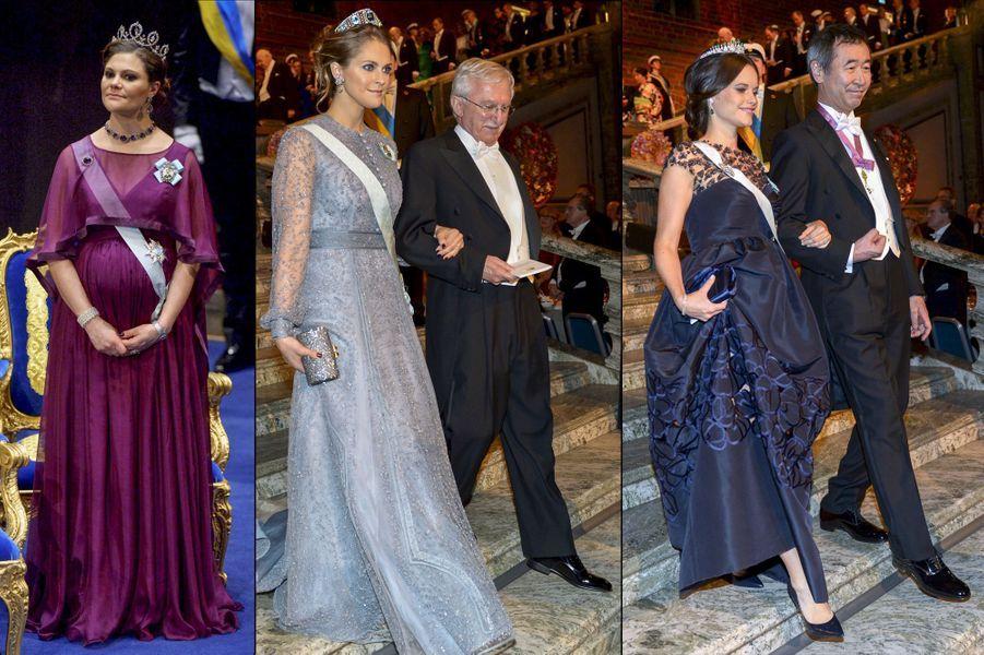 Les princesses de Suède Victoria, Madeleine et Sofia lors de la cérémonie des Nobel, le 10 décembre 2015