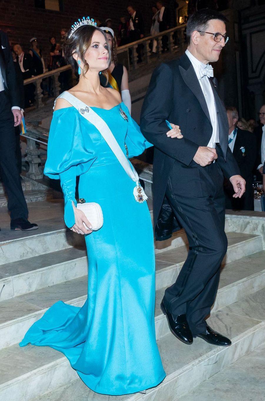 La princesse Sofia de Suède dans une robe de Emelie Janrell, à Stockholm le 10 décembre 2019