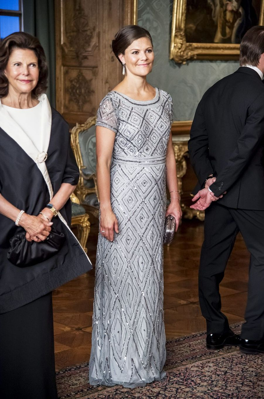 La princesse Victoria de Suède dans une robe Adrianna Papell, le 4 septembre 2015