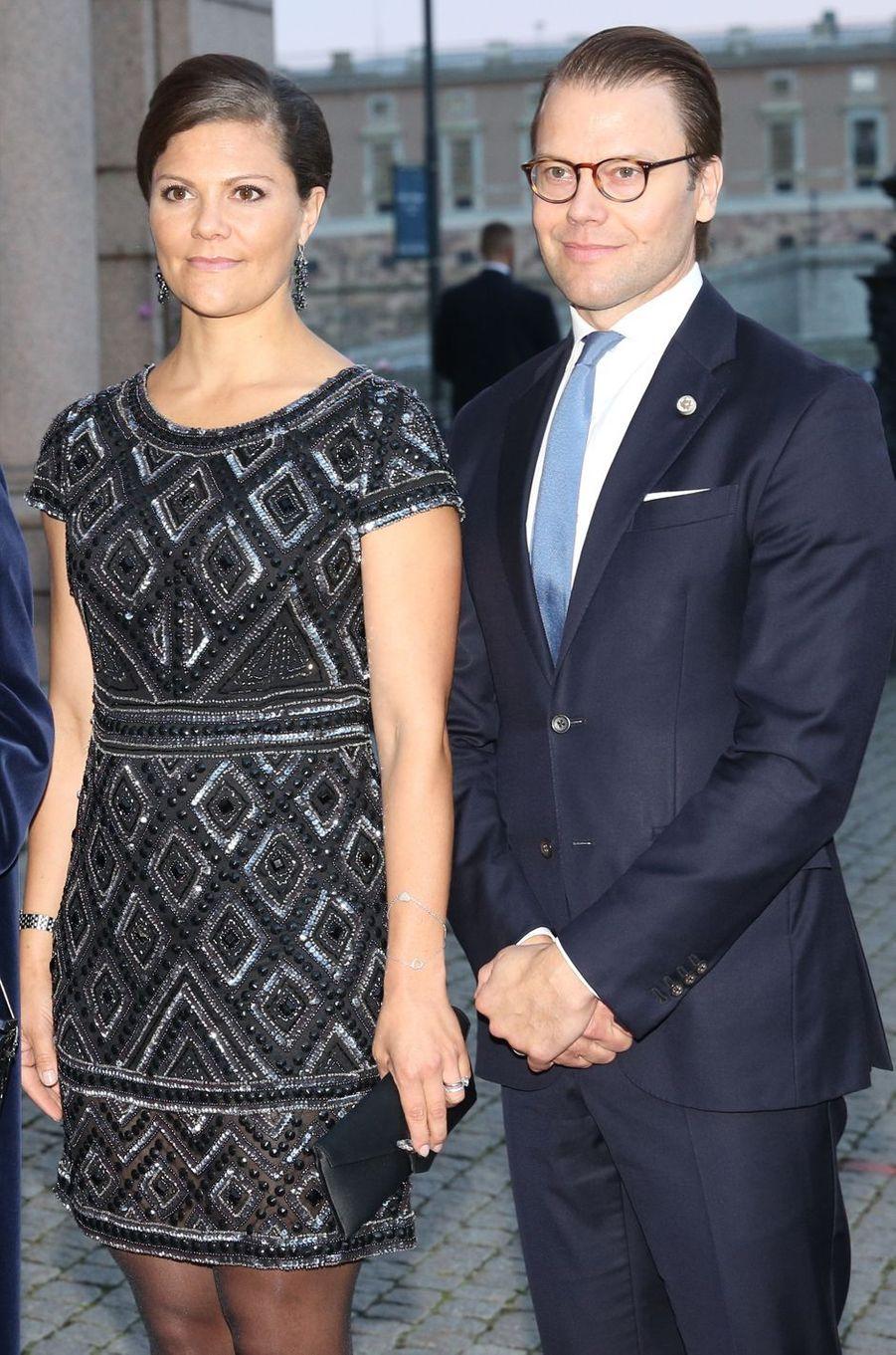 La princesse Victoria de Suède dans une robe Adrianna Papell, le 15 septembre 2015