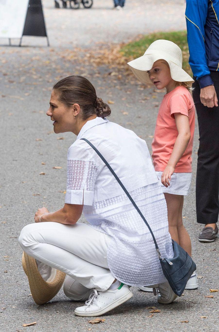 La princesse Victoria de Suède et sa fille la princesse Estelle à Solna, le 11 septembre 2016