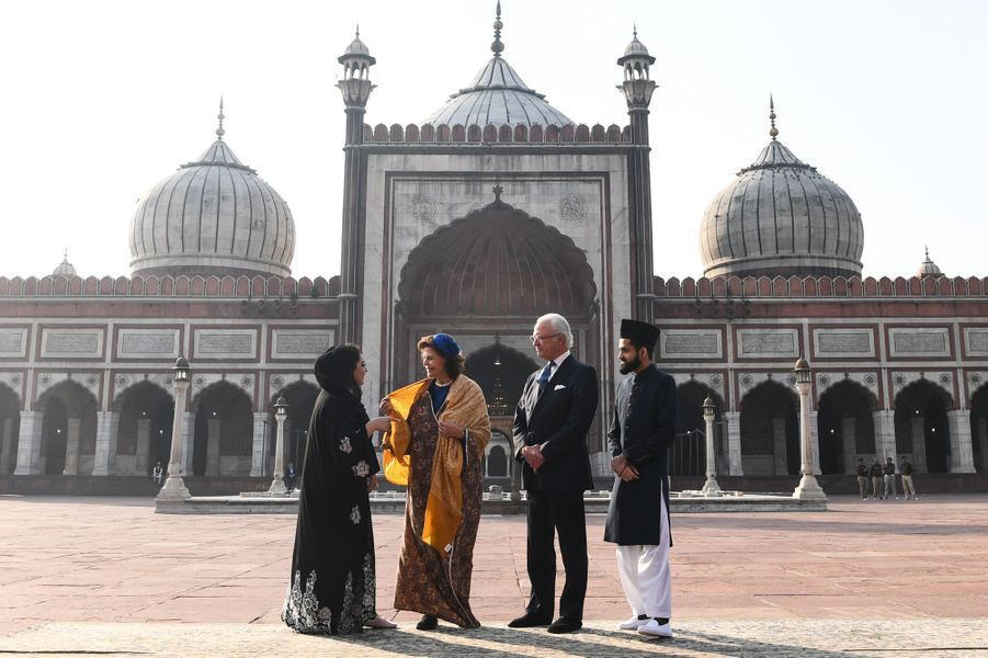 La reine Silvia et le roi Carl XVI Gustaf de Suède à New Delhi, le 2 décembre 2019