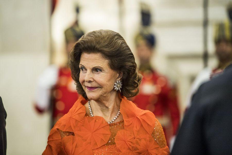 La reine Silvia de Suède à New Delhi, le 2 décembre 2019