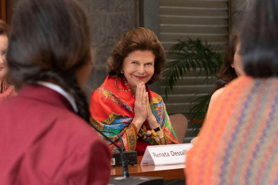 La reine Silvia de Suède à New Delhi, le 3 décembre 2019