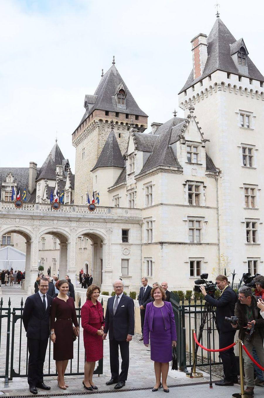 Le roi Carl XVI Gustaf de Suède, la reine Silvia, la princesse Victoria et le prince Daniel à Pau, le 8 octobre 2018