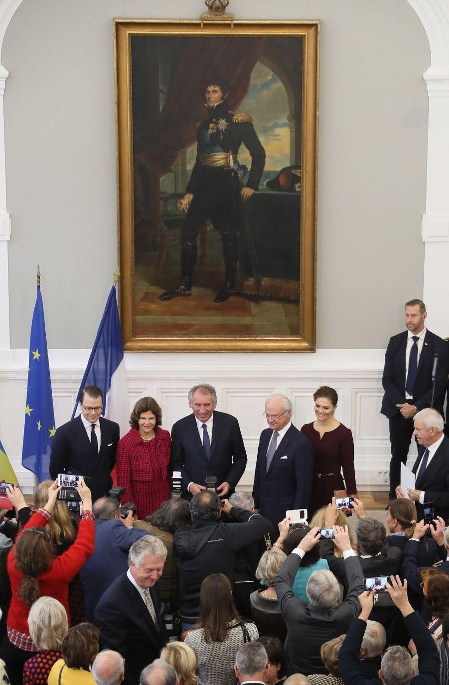 La famille royale de Suède avec François Bayrou à Pau, le 8 octobre 2018