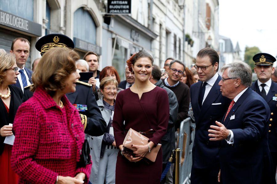 La reine Silvia de Suède, la princesse Victoria et le prince Daniel à Pau, le 8 octobre 2018