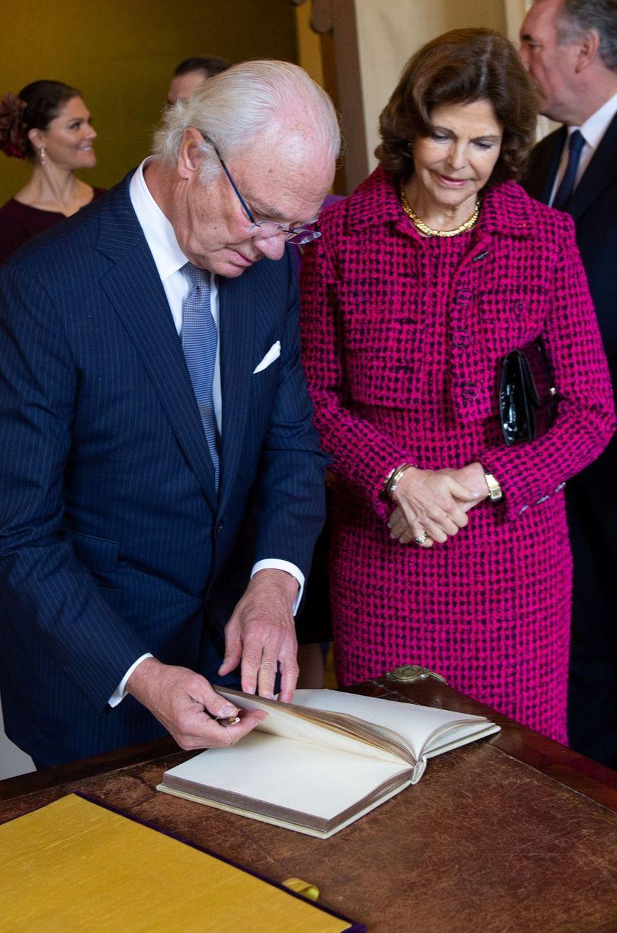 Le roi Carl XVI Gustaf de Suède et la reine Silvia à Pau, le 8 octobre 2018