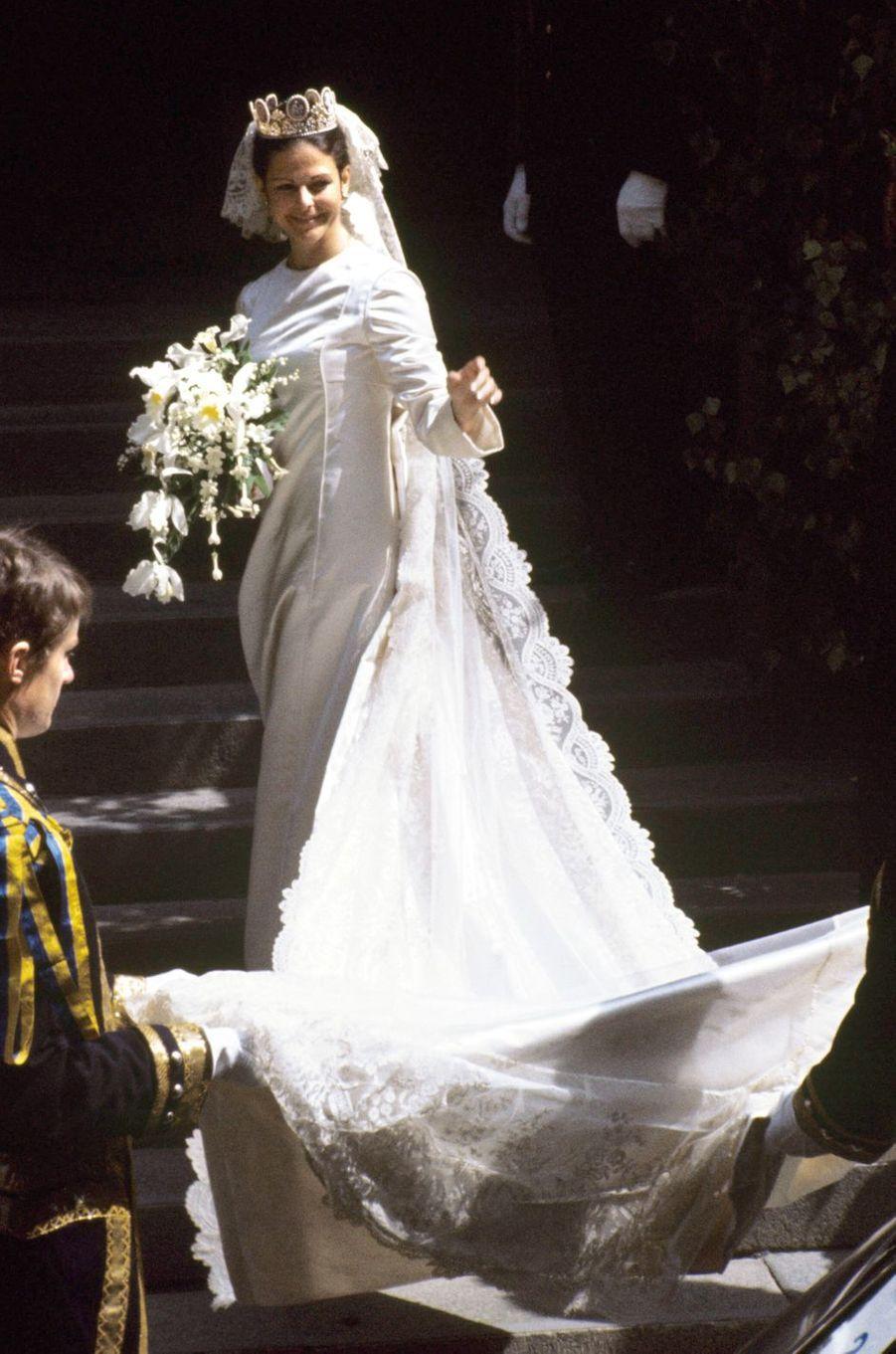 La reine Silvia de Suède le jour de son mariage le 19 juin 1976