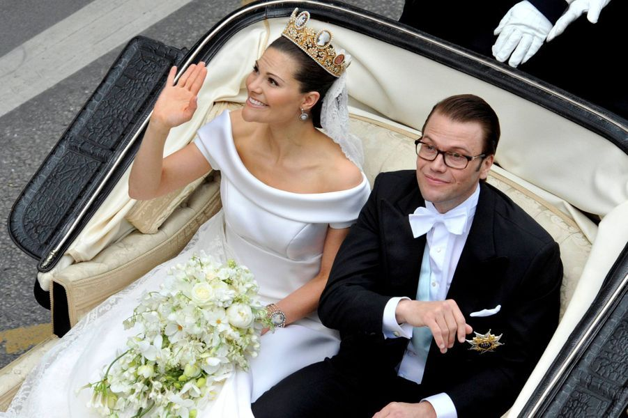 La princesse Victoria de Suède, avec Daniel Westling, le jour de son mariage le 19 juin 2010