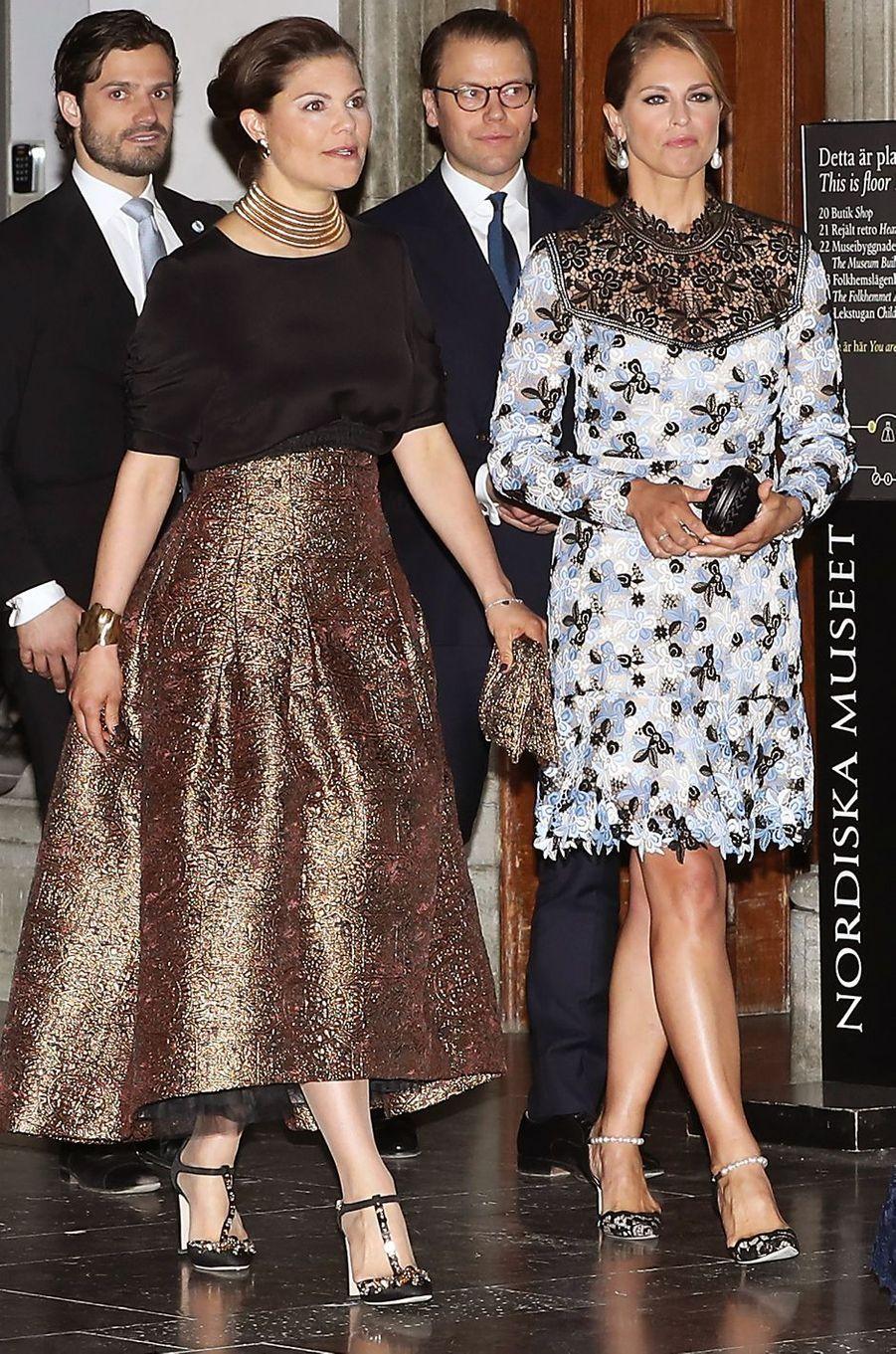 Les princesses Victoria et Madeleine de Suède à Stockholm, le 29 avril 2016