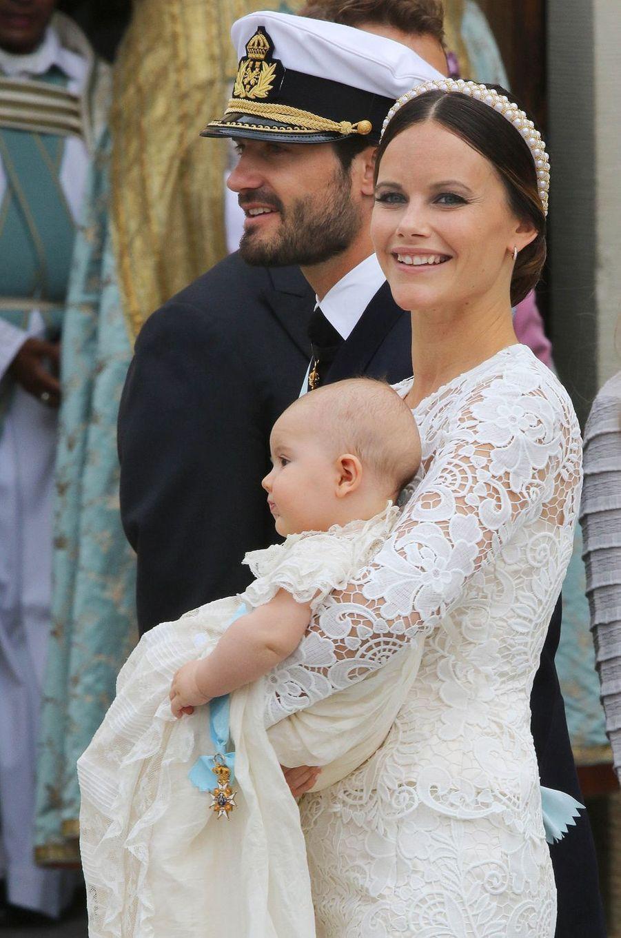 La princesse Sofia de Suède avec les princes Carl Philip et Alexander à Stockholm, le 9 septembre 2016
