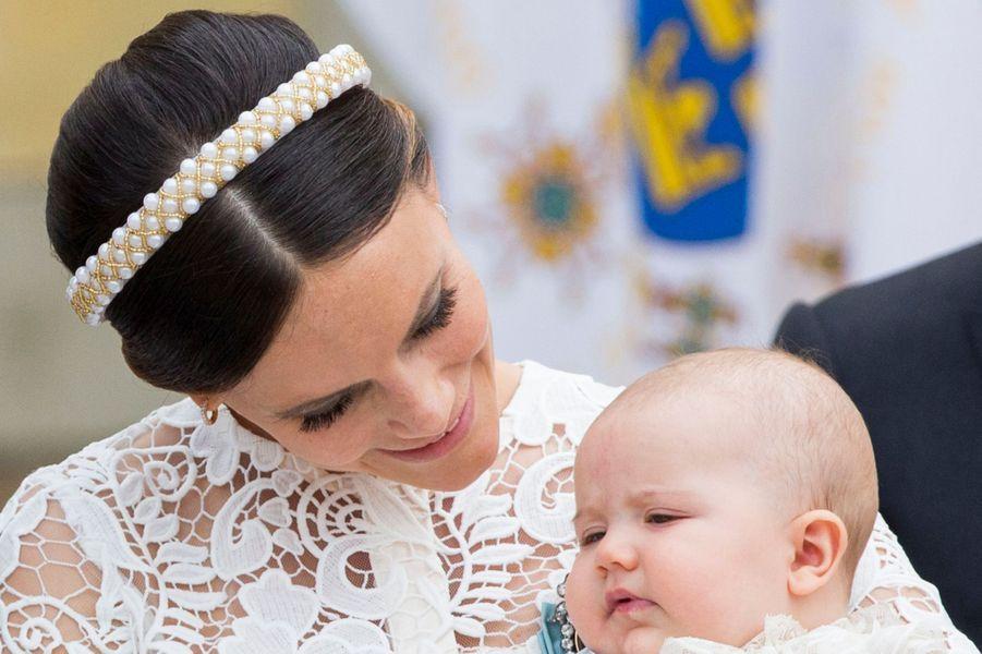 La princesse Sofia de Suède avec son fils le prince Alexander à Stockholm, le 9 septembre 2016