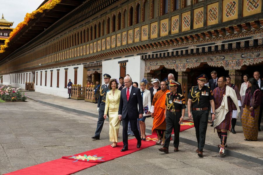 La reine Silvia et le roi Carl XVI Gustaf de Suède à Thimphu, le 8 juin 2016