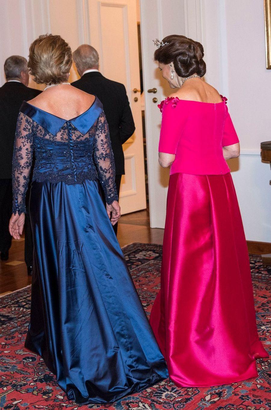 La reine Silvia de Suède avec Daniela Schadt à Berlin, le 5 octobre 2016