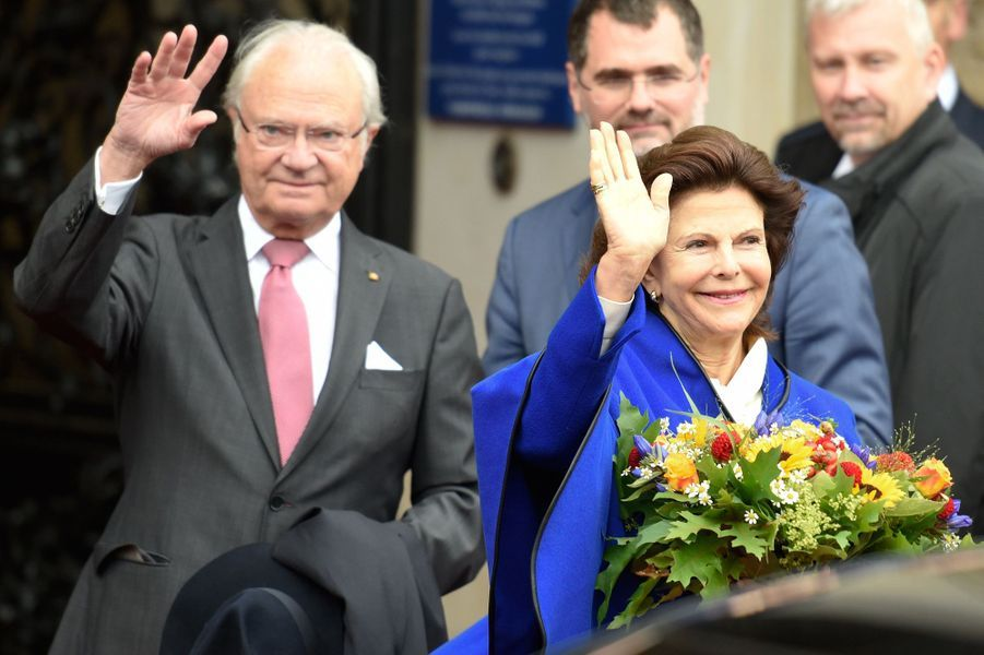 La reine Silvia et le roi Carl XVI Gustaf de Suède à Hambourg, le 6 octobre 2016