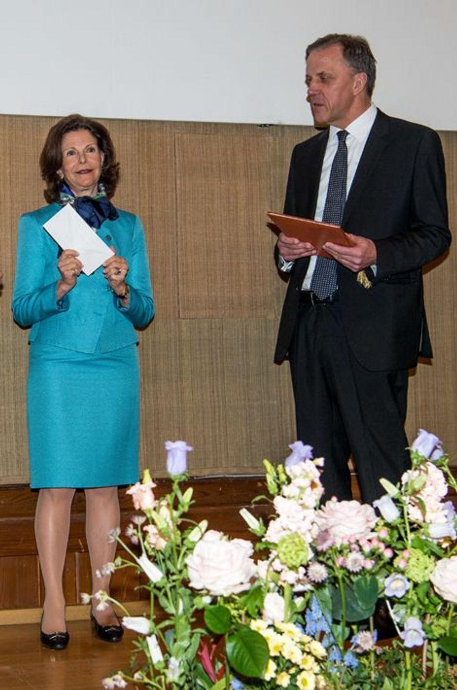 La reine Silvia de Suède à Stockholm, le 7 avril 2016