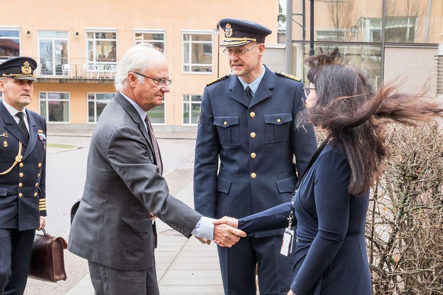 Le roi Carl XVI Gustaf de Suède à Linköping, le 7 avril 2016