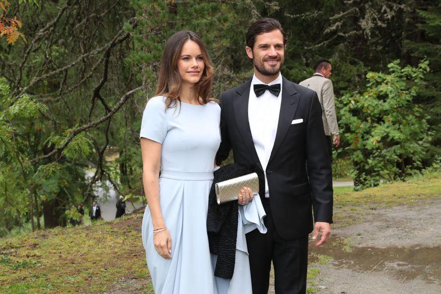 La princesse Sofia et le prince Carl Philip de Suède au mariage du prince Konstantin de Bavière à St Moritz, le 1er septembre 2018