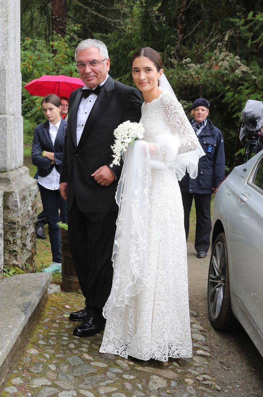 Deniz Kaya à St Moritz, le 1er septembre 2018, jour de son mariage avec le prince Konstantin de Bavière