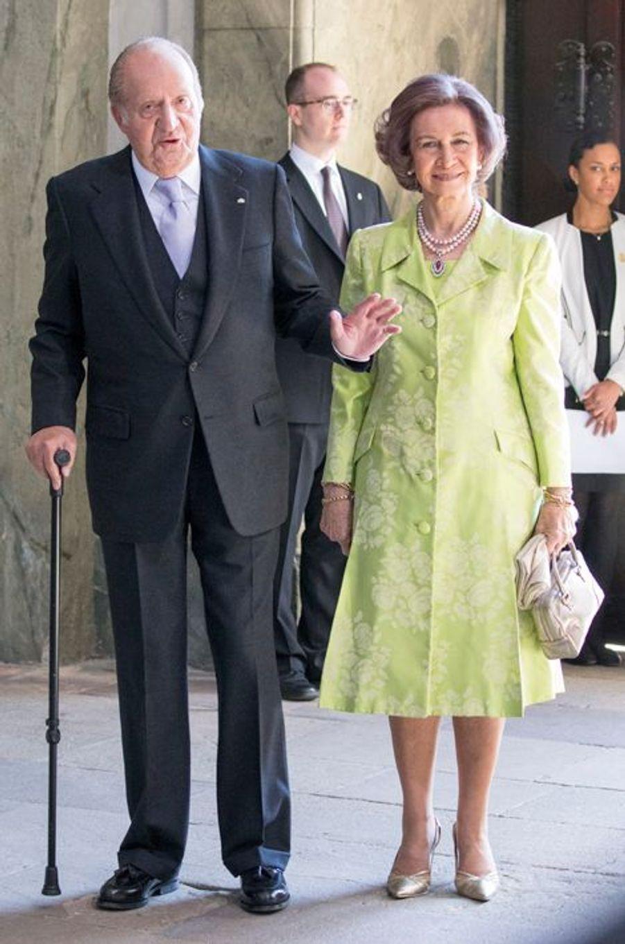L'ex-reine Sofia et l'ex-roi Juan Carlos d'Espagne à Stockholm, le 30 avril 2016