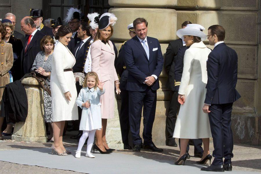 La famille royale de Suède à Stockholm, le 30 avril 2016