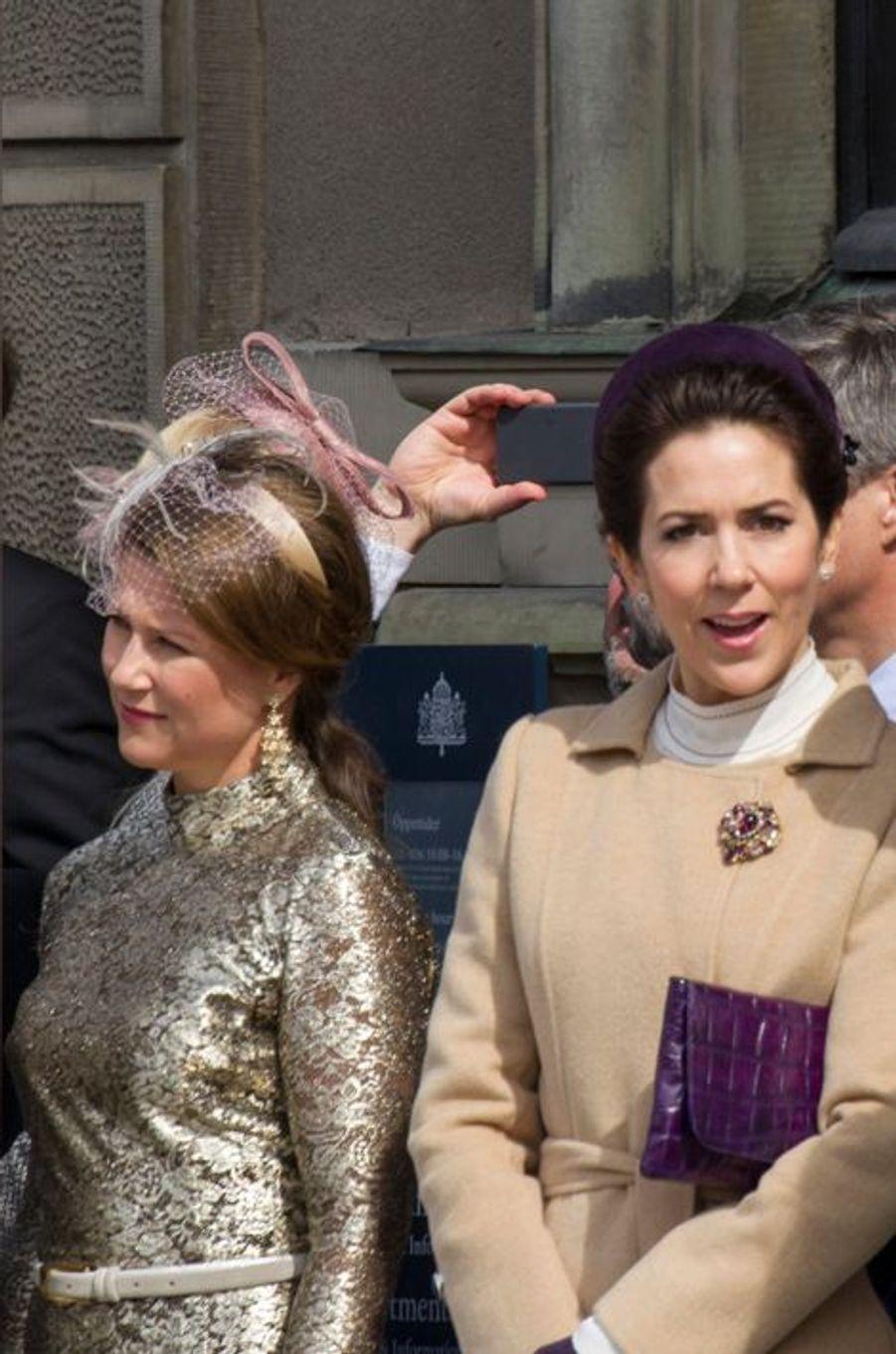 La princesse Martha-Louise de Norvège et la princesses Mary de Danemark à Stockholm, le 30 avril 2016