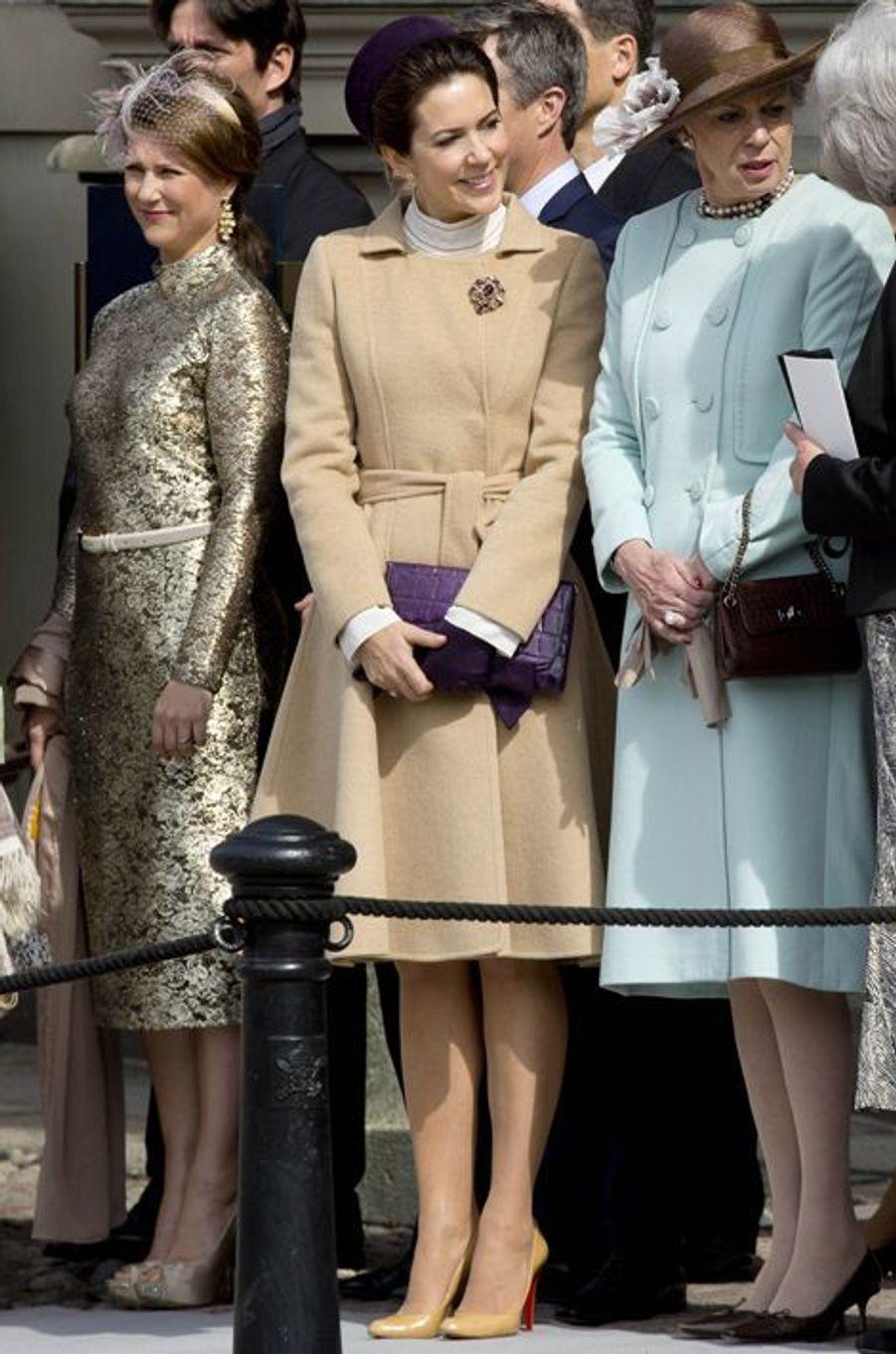 La princesse Martha-Louise de Norvège et les princesses Mary et Benedikte de Danemark à Stockholm, le 30 avril 2016