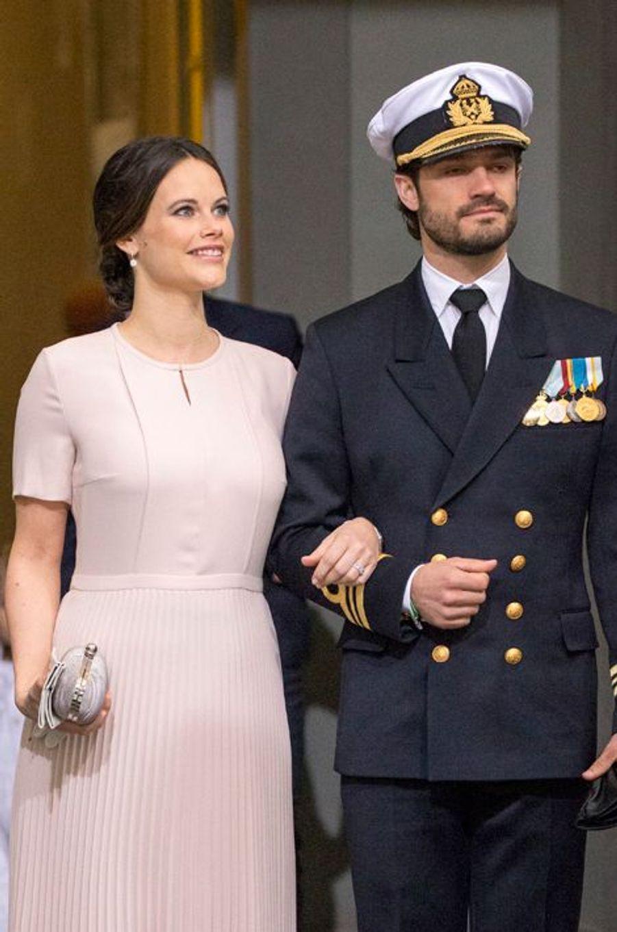 La princesse Sofia et le prince Carl Philip de Suède à Stockholm, le 30 avril 2016