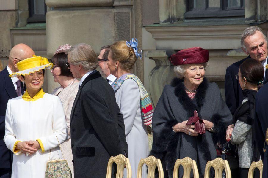 La princesse Takamado du Japon et l'ex-reine Beatrix des Pays-Bas à Stockholm, le 30 avril 2016