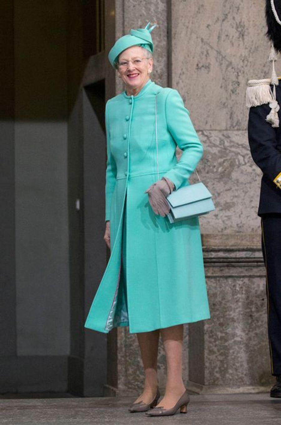 La reine Margrethe II de Danemark à Stockholm, le 30 avril 2016