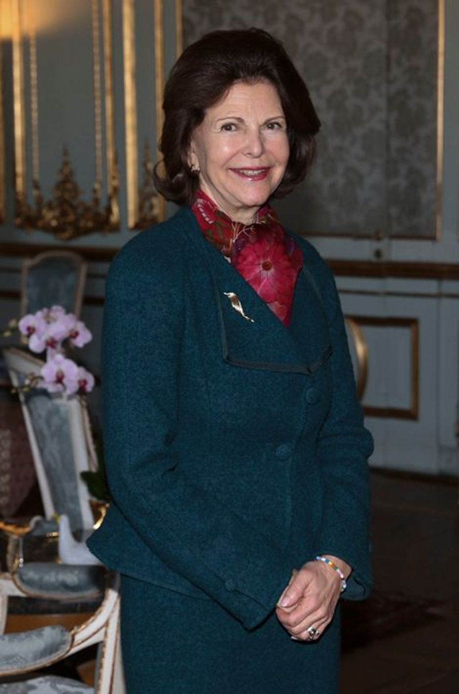 La reine Silvia de Suède au Palais royal à Sotckholm, le 21 janvier 2016