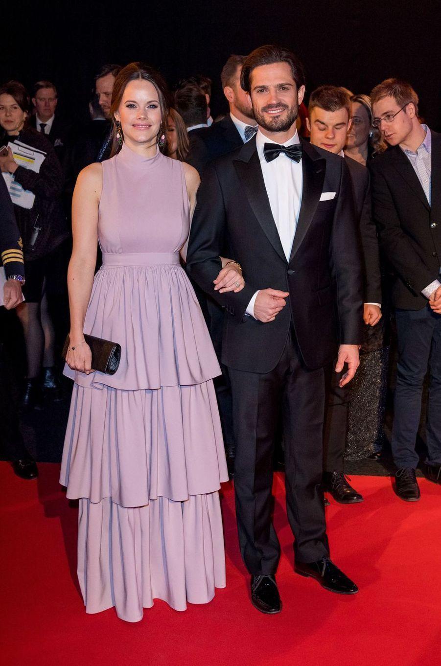 La princesse Sofia, en By Malina, et le prince Carl Philip de Suède à Stockholm, le 15 janvier 2018