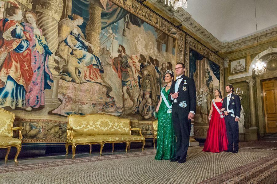 Les princesses Victoria et Sofia et les princes Daniel et Carl Philip de Suède au Palais royal à Stockholm, le 23 mars 2017