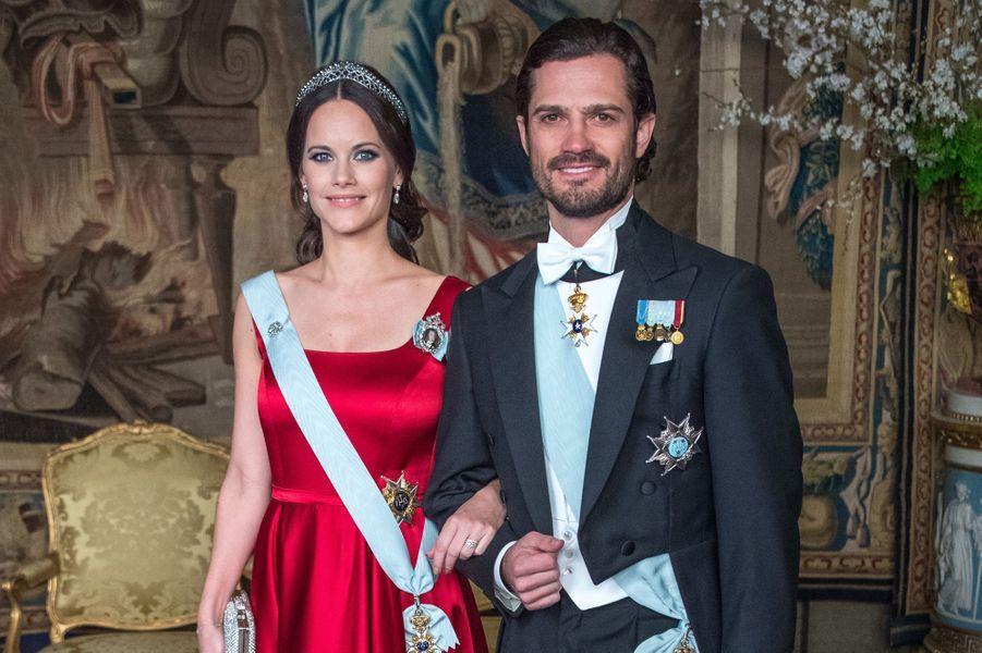 La princesse Sofia et le prince Carl Philip de Suède au Palais royal à Stockholm, le 23 mars 2017