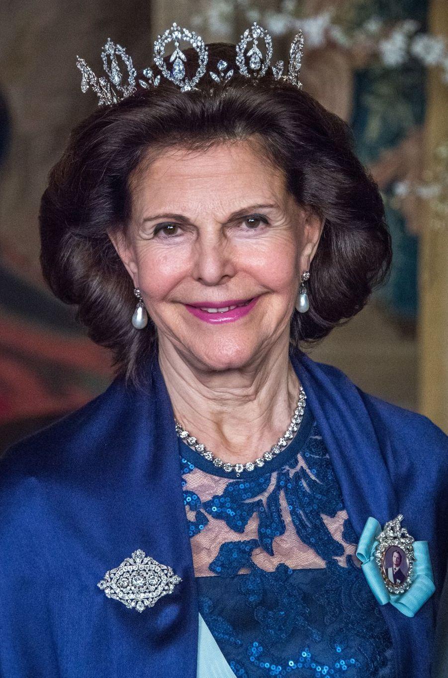 La reine Silvia de Suède au Palais royal à Stockholm, le 23 mars 2017